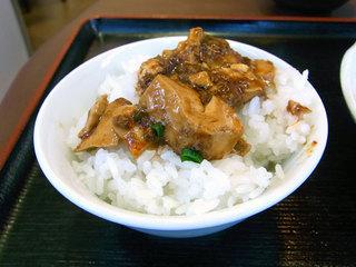 麻婆豆腐をごはんにのせてみた