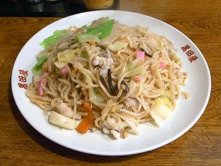 博多皿うどん。具材が麺に絡めてあります