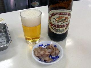 ビールと食べ放題の塩辛です