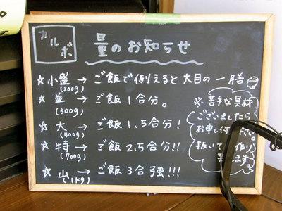 カルボ。盛りの説明の黒板。山は麺1キロです。