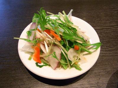 定食の水菜のサラダ。