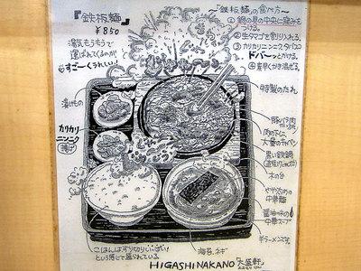 鉄板麺の食べ方の張り紙