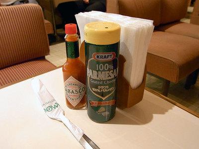 ナポリタンをオーダーするとすぐにタバスコと粉チーズを持ってきてくれました