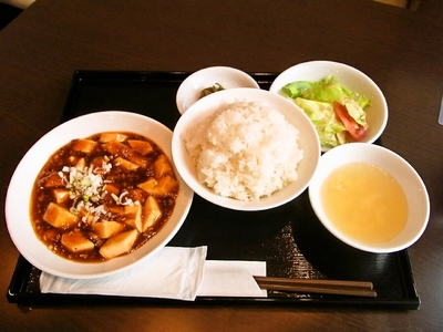 中目黒幸楽の麻婆豆腐定食。