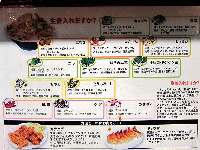タンメンの具材などの説明書き。お野菜たっぷり